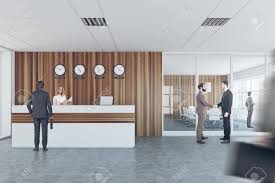 office lobby designs. Front View Of An Office Lobby Interior With Wooden And Glass Walls, A Reception Desk Designs N