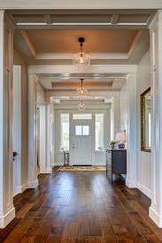 view in gallery pendant lighting in a hallway with a recessed ceiling