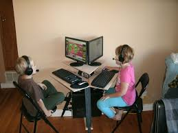 picture of space saving tripod computer desk for two