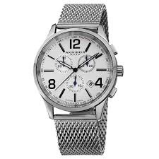 akribos xxiv chronograph silver dial stainless steel mesh men s create an account