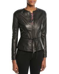 zip front pleated leather jacket w tie detail