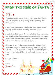 Free Letter From Santa Word Template Father Letters Templates Santa Thank You Letter Template