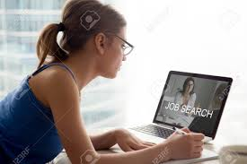 Jobless Woman Searching Work Opportunities Online Looking On