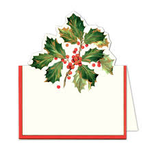 Holiday Placecards Caspari Gilded Holly Die Cut Holiday Place Cards Paperstyle