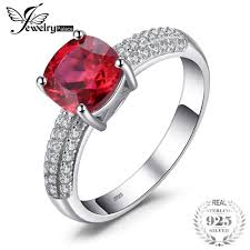 <b>JewelryPalace</b> Cushion 2.6ct <b>Created</b> Red Ruby Solitaire ...