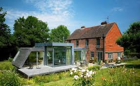 glass and timber clad modern extension to period home