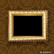 wooden vintage gold frame vinyl wall mural art and creation