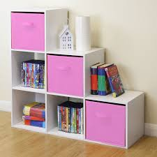 white 6 cube kids toy storage unit girls boys bedroom shelves 3 pink boxes by hartleys direct for homeware in new zealand
