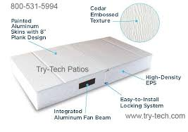 patio roof panels. the aluminum roof panels, foam insulation helps to reduce noise of rain, hail, and also decrease heat up 15 degrees. patio panels 2