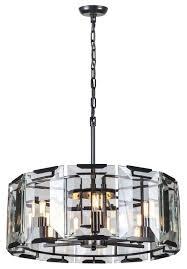 elegant lighting monaco 6 light crystal chandelier in flat black matte