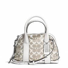 ... promo code coach f30167 bleecker printed signature mini preston satchel  silver ivory new khaki white b2f48