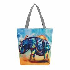Elephant Designer Bag Us 7 7 35 Off High Quality Elephant Printing Canvas Tote Casual Beach Bags Women Shopping Bag Handbags Designer Bags Famous Brand In Top Handle Bags