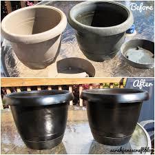 spray painted plastic flower pot refresh