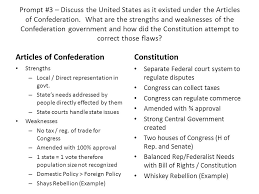unit response essay topics ppt  3 articles of confederation constitution