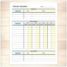 Work Out Charts Template Workout Sheet Weekly Log Template Free Exercise Chart