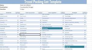 Packing List For Vacation Template Travel Packing List Template Free Free Excel Spreadsheets