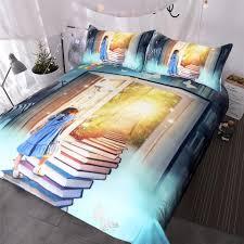 little girl bedding set books ladder duvet cover for kids rabbit bedclothes fairy tale world castle home textiles extra long twin bedding duvet sets queen