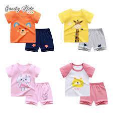 Bộ áo và quần đùi cotton xinh xắn dành cho bé trai và bé gái vào mùa hè tại  Nước ngoài