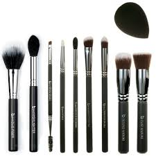best of beauty junkees 10pc makeup brush set includes flat top kabuki round kabuki mini tapered mini angled tapered blending pencil brow duo fiber