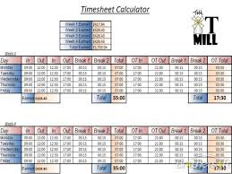 Timecard Calculation Timesheet Calculator Excel Excels Download