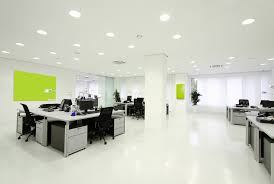 office design concept. Modern Office Design Concept With Working Room And Black Swivel Chairs