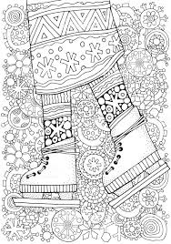 Winter Girl On Skates Winter Snowflakes Adult Coloring Book Page