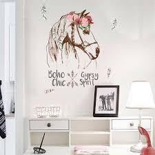 Aofa <b>Removable</b> Flower <b>Horse</b> Head Feather <b>Modern</b> Home Wall Art ...