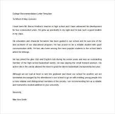 Sample Of Recommendation Letter For College Example Good Resume