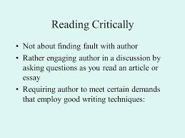 summary response essay responding to reading reading critically 2 reading critically