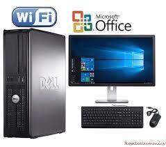 fast dell desktop computer pc core 2 duo windows 10 lcd kb ms