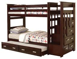 Allentown Espresso Wood Twin Twin Bunk Bed With Storage Stairway