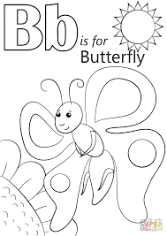 Letter B is for Butterfly coloring page | Free Printable Coloring ...