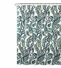 blue green fabric shower curtain watercolor fl paisley design