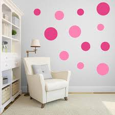 multi size pink polka dot wall decal pack