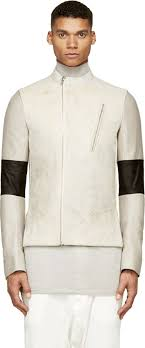 rick owens pearl grey cream led leather jacket