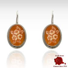 s cameo flower earrings