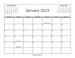 2015 Calendar With Holidays Free Printable
