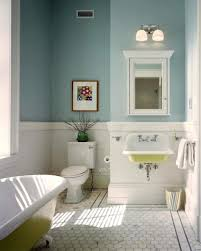 yellow mounted wall sink and hexagonal tile floor for small traditional bathroom ideas with duck egg blue wall color
