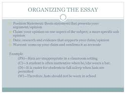 toulmin essay format organizing the essay paragraph  4 organizing
