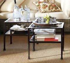 beautiful cube coffee table with tanner bronze finish pottery barn round polished nickel br