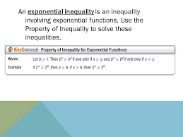 an exponential inequality is an inequality involving exponential functions