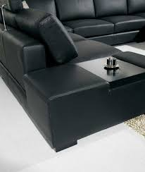 Amazon.com: T35 - Black Bonded Leather Sectional Sofa with Headrests:  Kitchen & Dining
