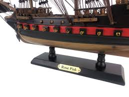 wooden ed low s rose pink black sails limited model pirate ship 26
