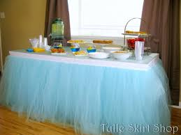 blue tulle table skirt tutu for wedding birthday baby shower tablecloth and napkins round fa f