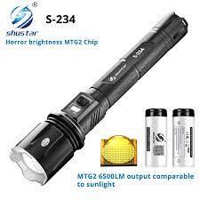 Süper parlak LED el feneri ile MTG2 fitil ile karşılaştırılabilir güneş  ışınları su geçirmez kendini savunma meşale 4 aydınlatma modları macera  için|LED Flashlights