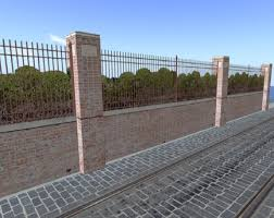 Second Life Marketplace Wrought Iron Fence with Brick Wall and