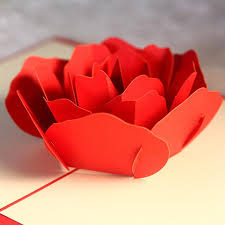 Red Paper Flower 3d Hollow Rose Greeting Card For Couple Handmade Creative Diy Paper Card Fashion Red Rose Flower Greeting Card For Mothers Day Gift Sister Birthday