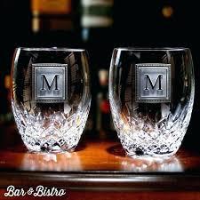 personalized barware glasses monogrammed rocks engraved square monogram crystal whiskey pair of 2 bar and bistro monogrammed crystal bar glasses