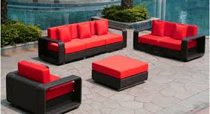 red and black furniture. dark wicker furniture with red cushions and black e