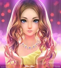 Fashionable Cartoon Beautiful Girl Wallpaper